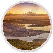 Vancouver And Mt Baker Aerial View Round Beach Towel