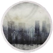 Vancouver Skyline Abstract 1 Round Beach Towel