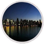 Round Beach Towel featuring the photograph Vancouver Skyline by Will Borden