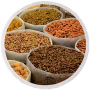 Variety Of Raw Nuts For Sale At Outdoor Street Market Karachi Pakistan Round Beach Towel