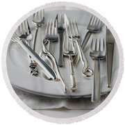 Various Forks On A Plate Round Beach Towel