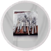 Various Forks On A Wooden Board Round Beach Towel