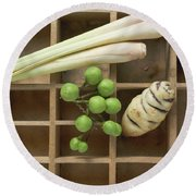 Various Types Of Vegetables And Lemon Grass In Type Case Round Beach Towel