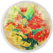 Round Beach Towel featuring the painting Vase by Jasna Dragun