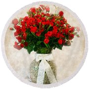 Vase Of Red Roses Round Beach Towel by Lena Auxier