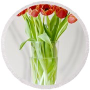 Vase Of Tulips Round Beach Towel by Dee Cresswell