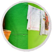 Round Beach Towel featuring the photograph Vase Towels And Green Wall by Silvia Ganora