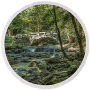 Round Beach Towel featuring the photograph Vaughan Woods Bridge by Jane Luxton