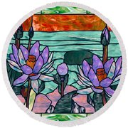 Round Beach Towel featuring the painting Vector Illustration Of Flower Sunflower In Stained Glass Window  by Lanjee Chee