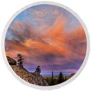 Vedauwoo Sunrise Round Beach Towel by Steven Reed