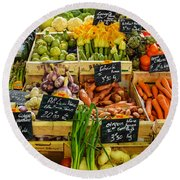 Veg At Marche Provencal Round Beach Towel by Allen Sheffield