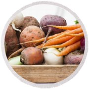 Veg Box Round Beach Towel by Anne Gilbert