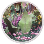 Round Beach Towel featuring the photograph Vegas Butterfly Garden Flowers Cactus Romanti Interior Decorations by Navin Joshi