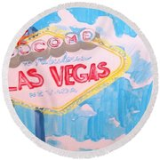 Vegas Round Beach Towel