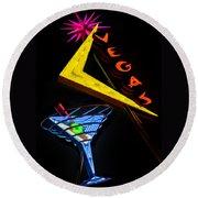 Vegas Martini Round Beach Towel by Gary Warnimont