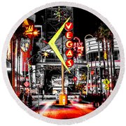 Vegas Nights Round Beach Towel