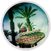 Vegas Round Beach Towel by Nina Prommer