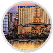 Vegas Water Show Round Beach Towel