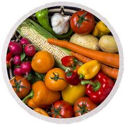 Vegetable Basket    Round Beach Towel by Garry Gay
