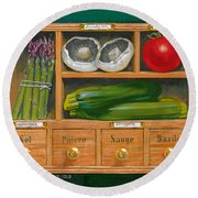 Vegetable Shelf Round Beach Towel by Brian James