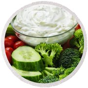 Vegetables And Dip Round Beach Towel
