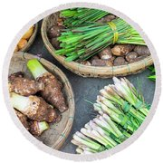 Vegetables For Sale At Hoi An Market Round Beach Towel