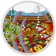 Vegetarians And Meat Eaters Round Beach Towel by Rojax Art