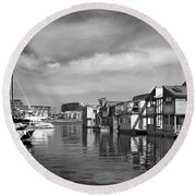 Veiw Of Marina In Victoria British Columbia Black And White Round Beach Towel