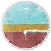 Velvet Horizon- Abstract Landscape Round Beach Towel