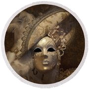 Venetian Face Mask F Round Beach Towel