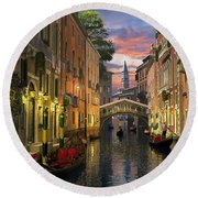 Venice At Dusk Round Beach Towel