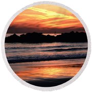 Venice Beach Breaker Orange Yellow Sunset Round Beach Towel