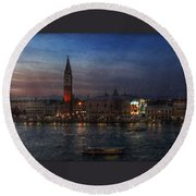 Round Beach Towel featuring the photograph Venice By Night by Hanny Heim