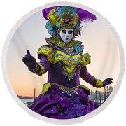 Venice Carnival Iv Round Beach Towel