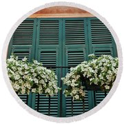 Round Beach Towel featuring the photograph Venice Flower Balcony 2 by Allen Beatty