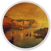 Venice From The Rialto Bridge Round Beach Towel