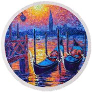 Venice Mysterious Light - Gondolas And San Giorgio Maggiore Seen From Plaza San Marco Round Beach Towel