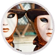 Venice Masks - Carnival. Round Beach Towel by Luciano Mortula