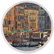 Venice Palazzi At Sundown Round Beach Towel
