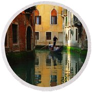 Venice Reflections Round Beach Towel by Bob Christopher