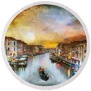 Sunrise In The Beautiful Charming Venice Round Beach Towel by Georgi Dimitrov