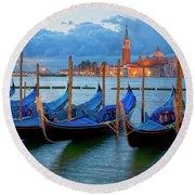 Venice View To San Giorgio Maggiore Round Beach Towel by Heiko Koehrer-Wagner