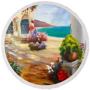 Round Beach Towel featuring the painting Venice Villa by Jenny Lee