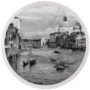 Round Beach Towel featuring the painting Vintage Venice Black And White by Georgi Dimitrov