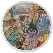Venice Vintage Trendy Italy Travel Collage  Round Beach Towel