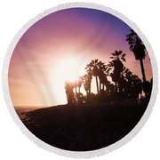 Ventura Beach Sunset Round Beach Towel