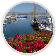 Ventura Harbor Round Beach Towel by Lynn Bauer