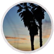 Ventura Palm Sunset Round Beach Towel