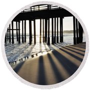 Round Beach Towel featuring the photograph Ventura Pier Shadows by Kyle Hanson