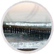 Ventura Storm Pier Round Beach Towel by Henrik Lehnerer